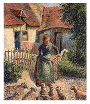 "Camille Pissarro, ""Sheperdess Bringing in Sheep/Bergere rentrant des moutons"" (1886)"