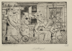 Otto Dix, Kriegskrüppel (War cripples), drypoint print based on a painting labeled  degenerate and destroyed in 1937.