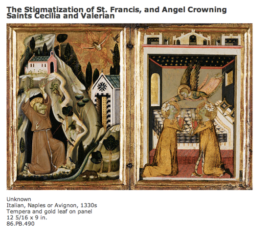 """The Stigmatization of St. Francis, and Angel Crowning Saints Cecilia and Valerian"" (The Getty Museum)"