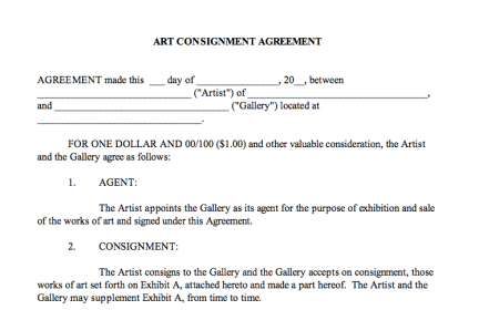 Consignment Agreement Center For Art Law
