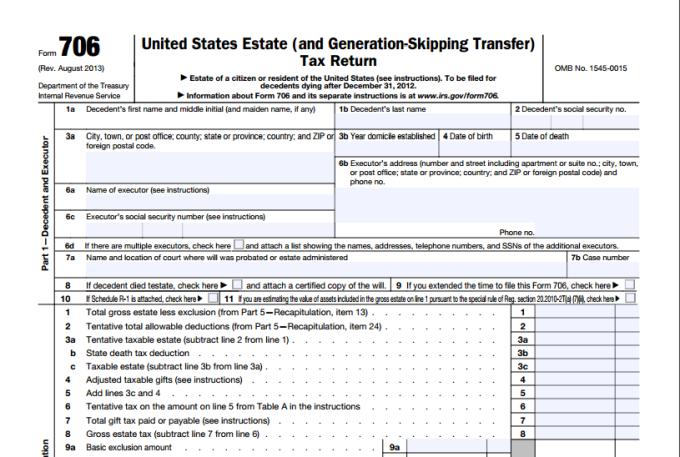 Form 706 Estate Tax